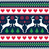 Winter, Christmas seamless pixelated pattern with deer and hearts