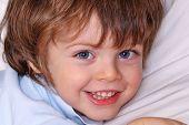 Beautiful little child portrait at home.Happy little kid portrait.