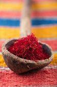saffron spice in morocco souk, closeup, shallow dof