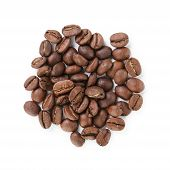 Small Heap Of Roasted Coffee Beans From Above