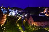 Night view with Dent Creuse in lights, Luxembourg