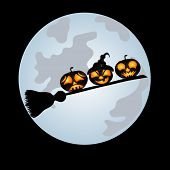 pic of sweeper  - Pumpkins on a sweeper a beautiful vector illustration to Halloween - JPG