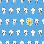 Hand drawn seamless pattern of light bulbs. Idea symbol. Vector illustration. Lamp background in ske