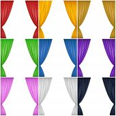 stock photo of pageant  - A set of nine different colored drapes  - JPG