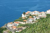 Aerial View Of Houses Along Coastline Madeira Island
