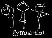 Illustration of the three gymnasts on a black background