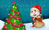 Illustration of Santa near the big christmas tree