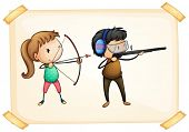 Illustration of a frame with two people playing archery on a white background