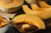 image of cantaloupe  - Healthy Organic Orange Cantaloupe All Cut Up
