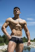 Handsome, Hot Young Bodybuilder Shirtless In Trunks