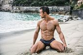 Fit Young Bodybuilder In Bathing Suit On The Beach