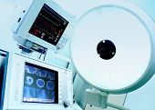 Medical Technology In Surgery, Intensive Care. Monitoring Station And Surgical Lamp