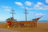 Playground on a beach.