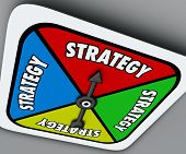 picture of spinner  - Strategy word on a board game spinner as your plan or turn to win the competition and achieve success in sports - JPG