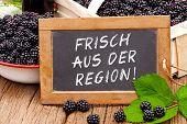 Slate Blackboard With The Germans Words: Frisch Aus Der Region