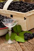 Blackberries And A Liqueur Glass