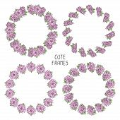 Vector beautiful floral frame. Illustration. Background. Cute wreath made of hand drawn  flowers.