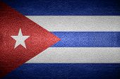 Closeup Screen Cuba Flag Concept On Pvc Leather For Background