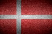 Closeup Screen Denmark Flag Concept On Pvc Leather For Background