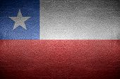 Closeup Chile Flag Concept On Pvc Leather For Background