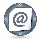Dark Abstract Icon With Paper And Email Symbol
