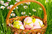 Decorative Easter Eggs In The Wicker Basket