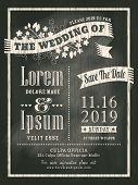 Vintage Chalkboard Wedding Invitation Card Background