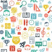 School And Education Flat Design Icons Seamless Background