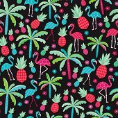 Seamless colorful tropical flamingo birds and pineapples paradise illustration background pattern in