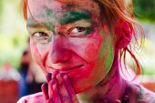 foto of holi  - European girl celebrate festival Holi in Delhi - JPG