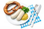 stock photo of pretzels  - Bavarian meal - JPG