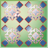 Graphic Design Of Colored Squares On Green Background.