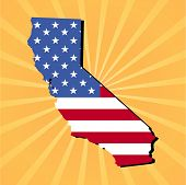 California map flag on yellow sunburst illustration