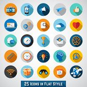 Set of basic icons in flat design for web and mobile application