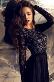 Beautiful Girl With Dark Hair In Black Lace Dress