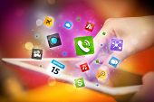 Finger pointing on tablet pc, social network concept