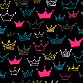 Crown Vector Seamless Pattern On Black Background. Bright Crowns. Vector Illustration. Endless Patte