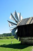 picture of sibiu  - sibiu romania ethno museum wood wind mill - JPG