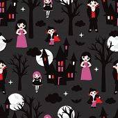 Seamless vampire halloween full moon dark night illustration background pattern in vector