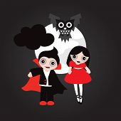 Happy Vampire friends halloween illustration full moon and owl postcard cover design or poster in ve