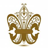 stock photo of fleur de lis  - Insignia Fleur De Lis decorative tatto or iron piece - JPG