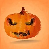 detailed illustration of an abstract polygonal halloween pumpkin, eps10 vector