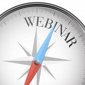 detailed illustration of a compass with webinar text, eps10 vector