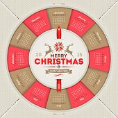 Vector calendar 2015 with Christmas type design