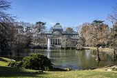Lake, Crystal Palace in the Retiro park Madrid, Spain