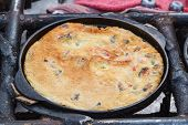 Oyster Omelet On Frying Pan.