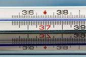 a thermometer is reflected on a glass plate