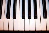 Closeup Of A Piano Keyboard