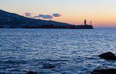 Beacon in Yalta at sunrise