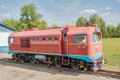 Tu2-143 locomotive on Children railroad. Russia